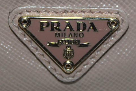 Authentic Prada Beige Saffiano Triangle Logo Card Holder