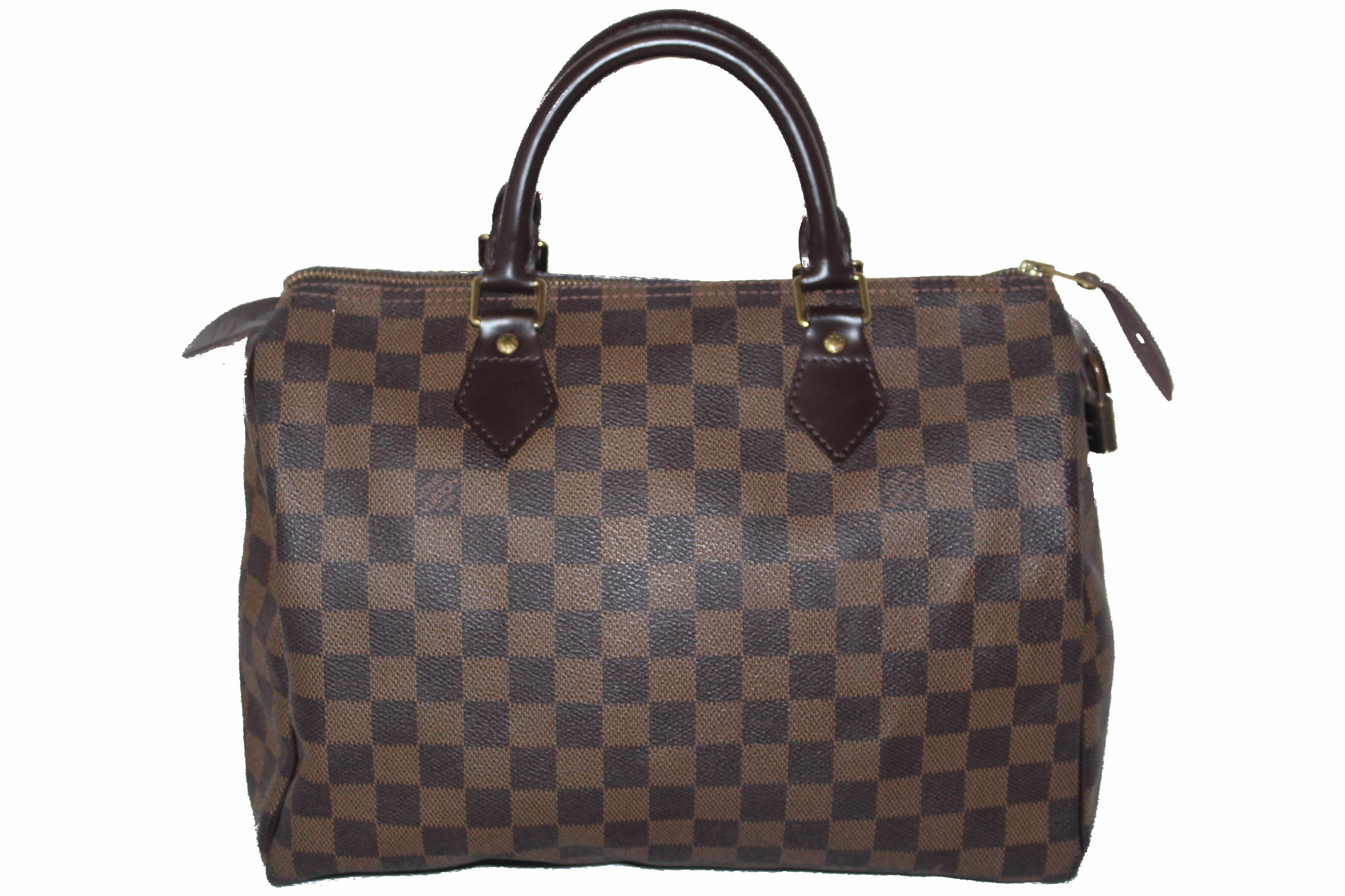 Authentic Louis Vuitton Damier Ebene Speedy 30 Handbag