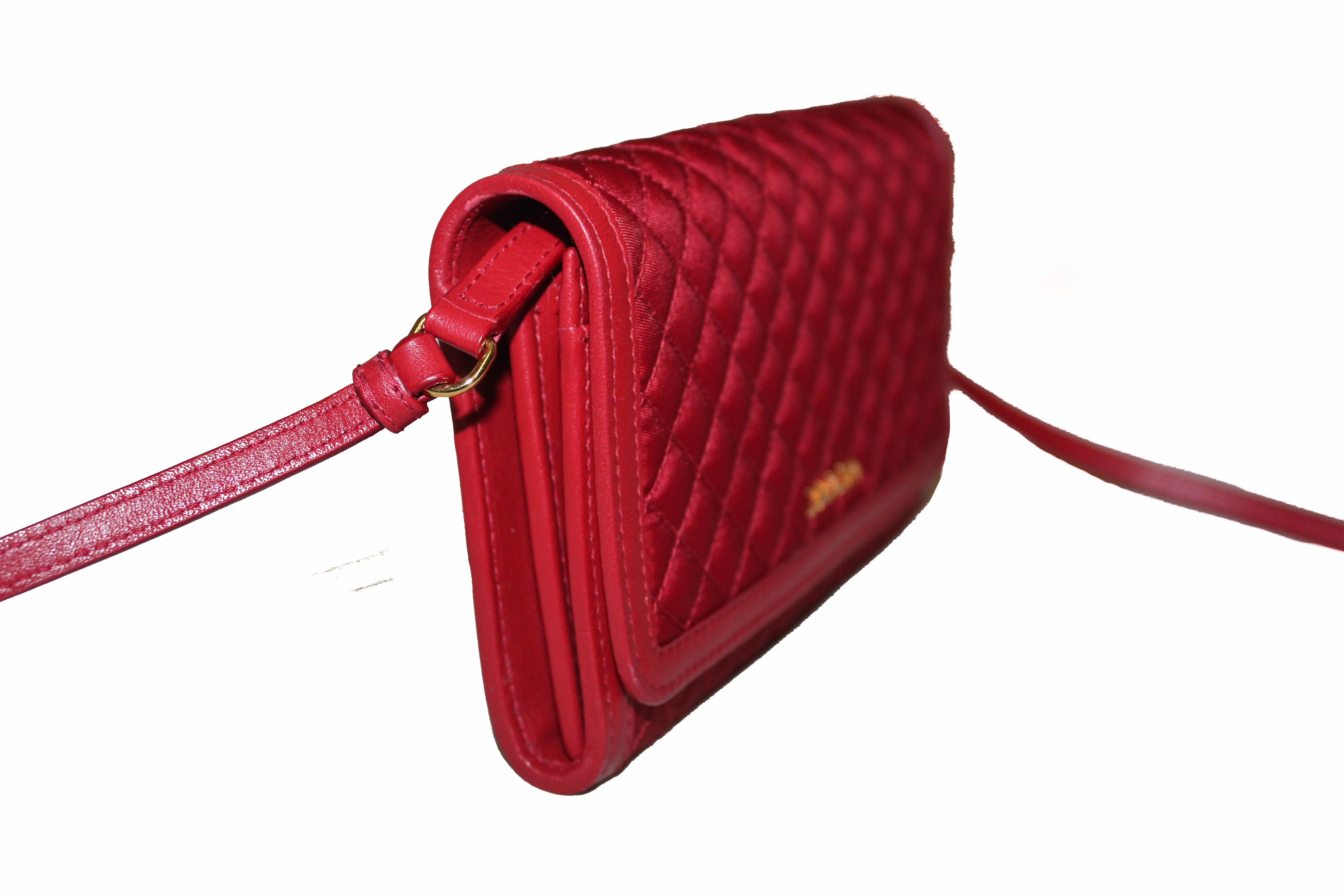 Authentic Prada Red Quilted Nylon Small Wallet with Detachable Leather Strap