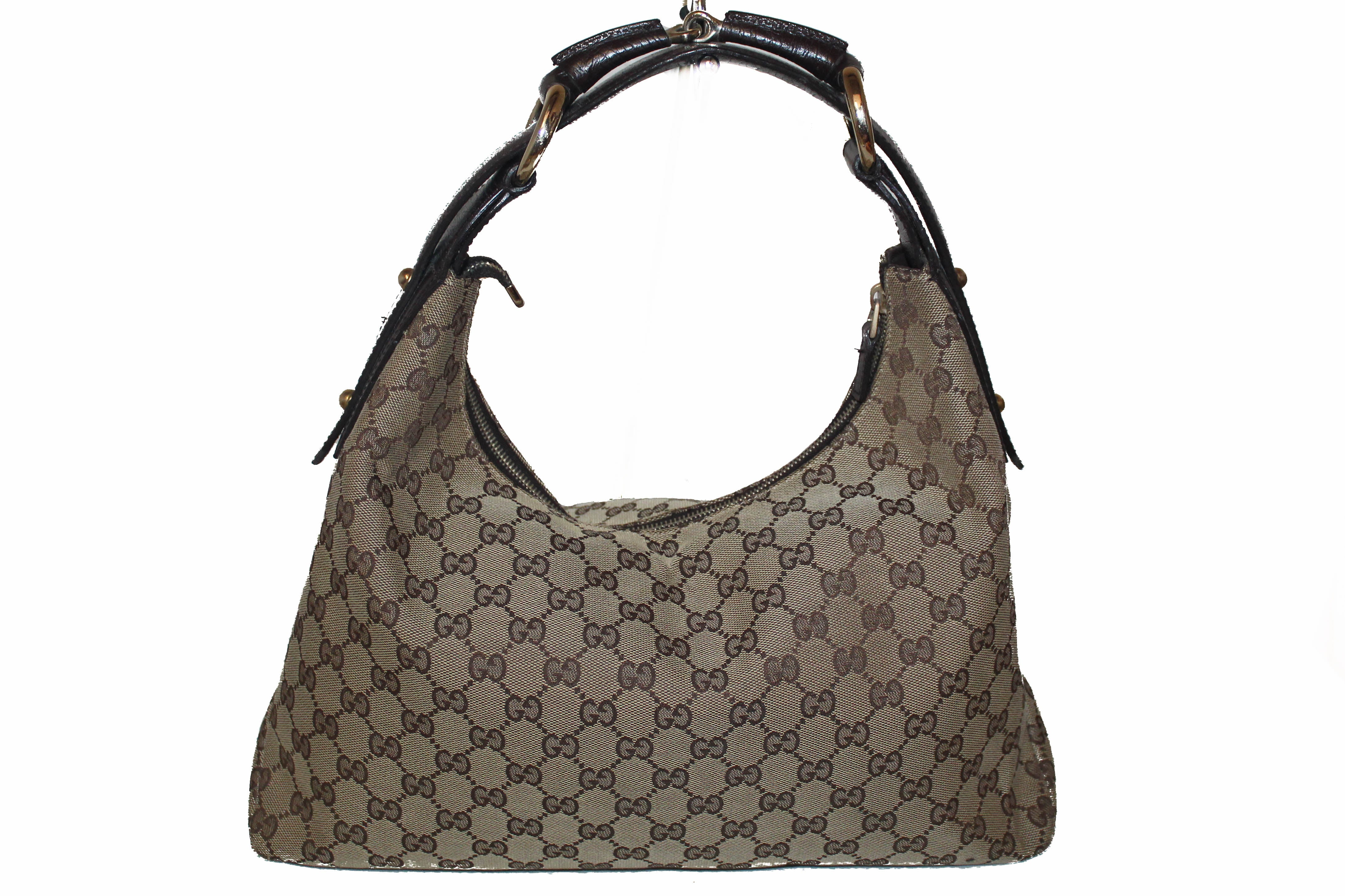 Authentic Gucci Brown GG with Brown Leather Horsebit Hobo Shoulder Bag