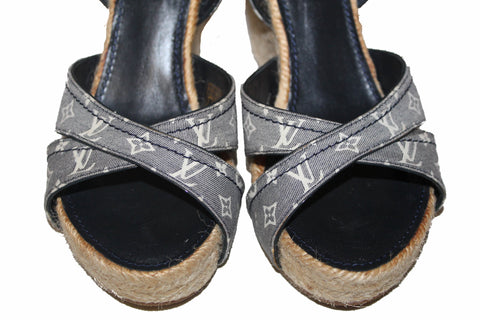 Authentic Louis Vuitton Navy Blue Monogram Mini Lin Espadrille Wedge Sandal 37.5