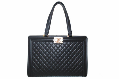 Authentic Chanel Black Quilted Lambskin Leather Boy Large Shopping Tote