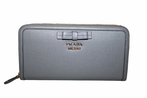 Authentic Prada Grey Women's Bow Detail Continental Leather Wallet