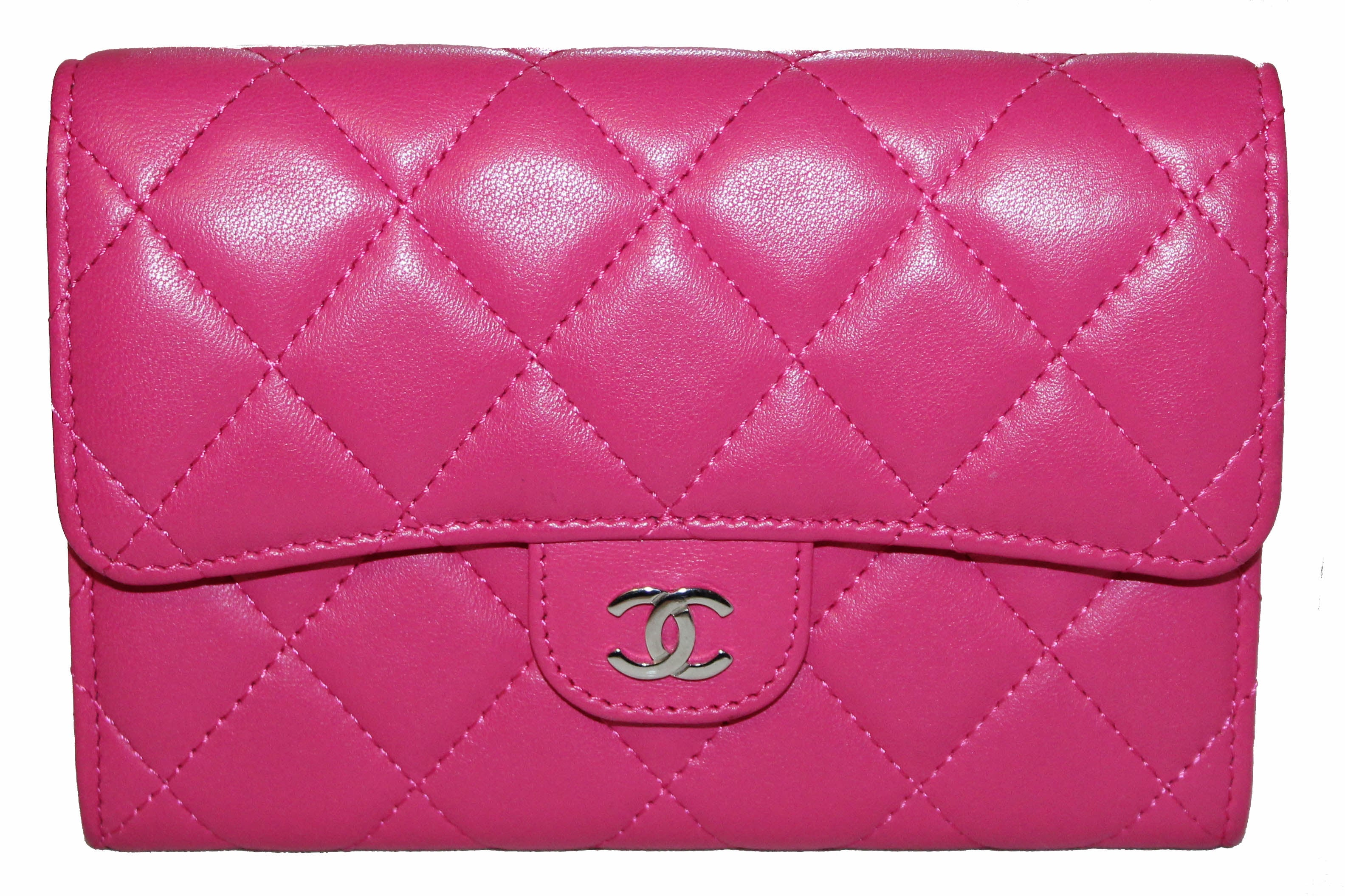 Authentic Chanel Pink Quilted Lambskin Leather Classic Flap Wallet