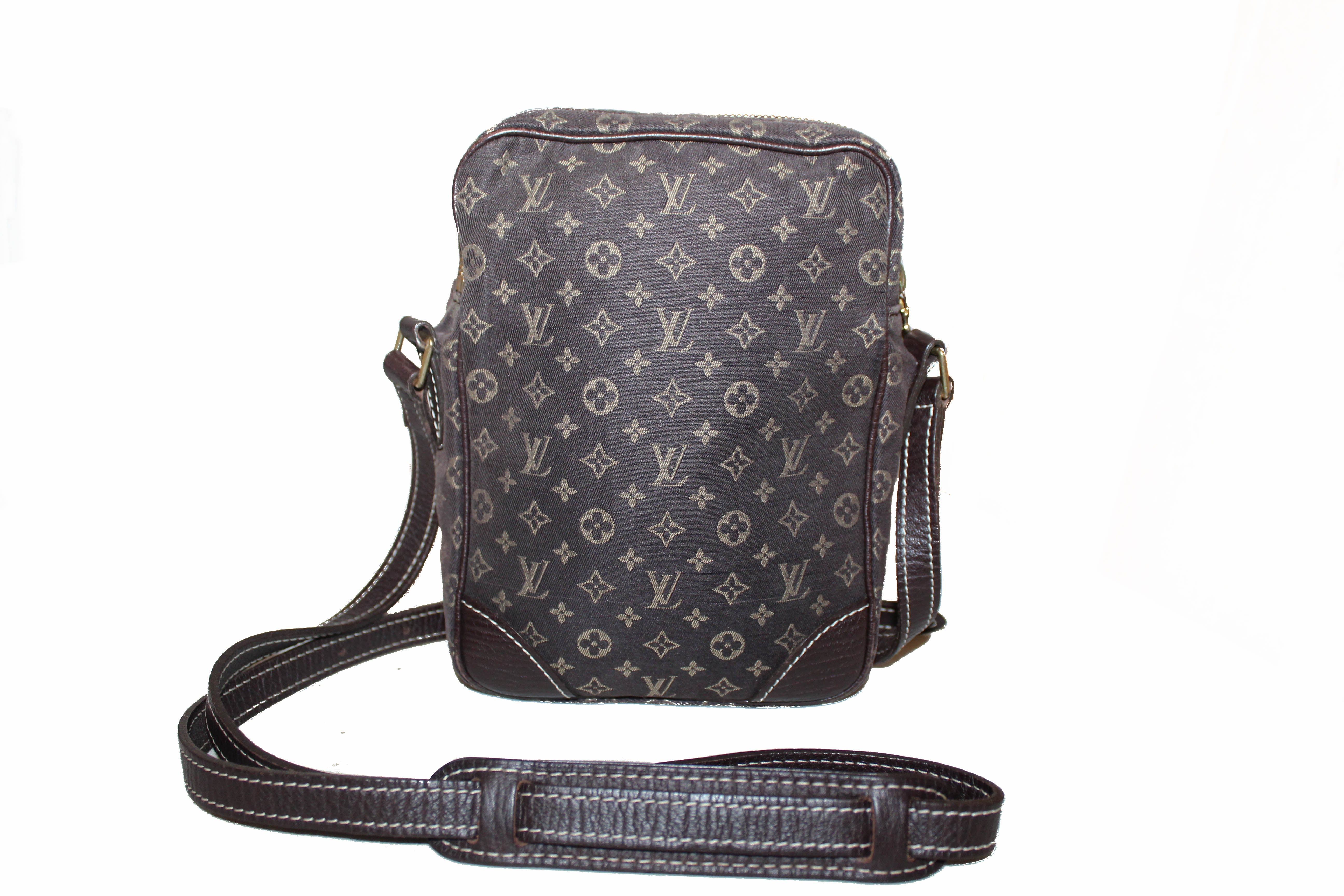 Authentic Louis Vuitton Monogram Mini Lin Brown Danube Small Messenger Bag