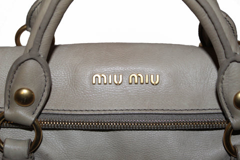 Authentic Miu Miu Pomice Vitello Lux Leather Bow Top Handle Bag