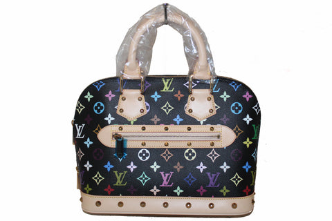 NEW Authentic Louis Vuitton Black Multicolore Alma PM Hand Bag