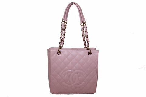 Authentic Chanel Pink Quilted Caviar Leather Petite Shopping Tote