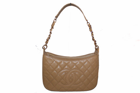 NEW Authentic Chanel Beige Quilted Caviar Leather Hobo Shoulder Bag