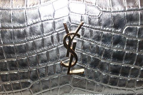 Authentic Yves Saint Laurent YSL Shiny Silver Crocodile Embossed Wallet On Chain/Clutch