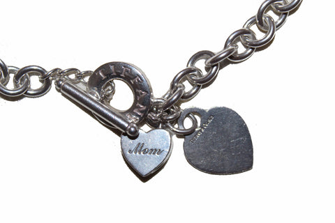 Authentic Tiffany & Co. Sterling Silver Double Heart Tag Thick Links Chain Choker