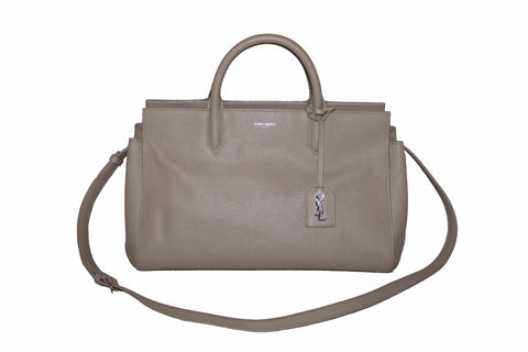 Authentic Yves Saint Laurent YSL Beige Grained Calfskin Cabas Rive Gauche Small Tote Shoulder Bag