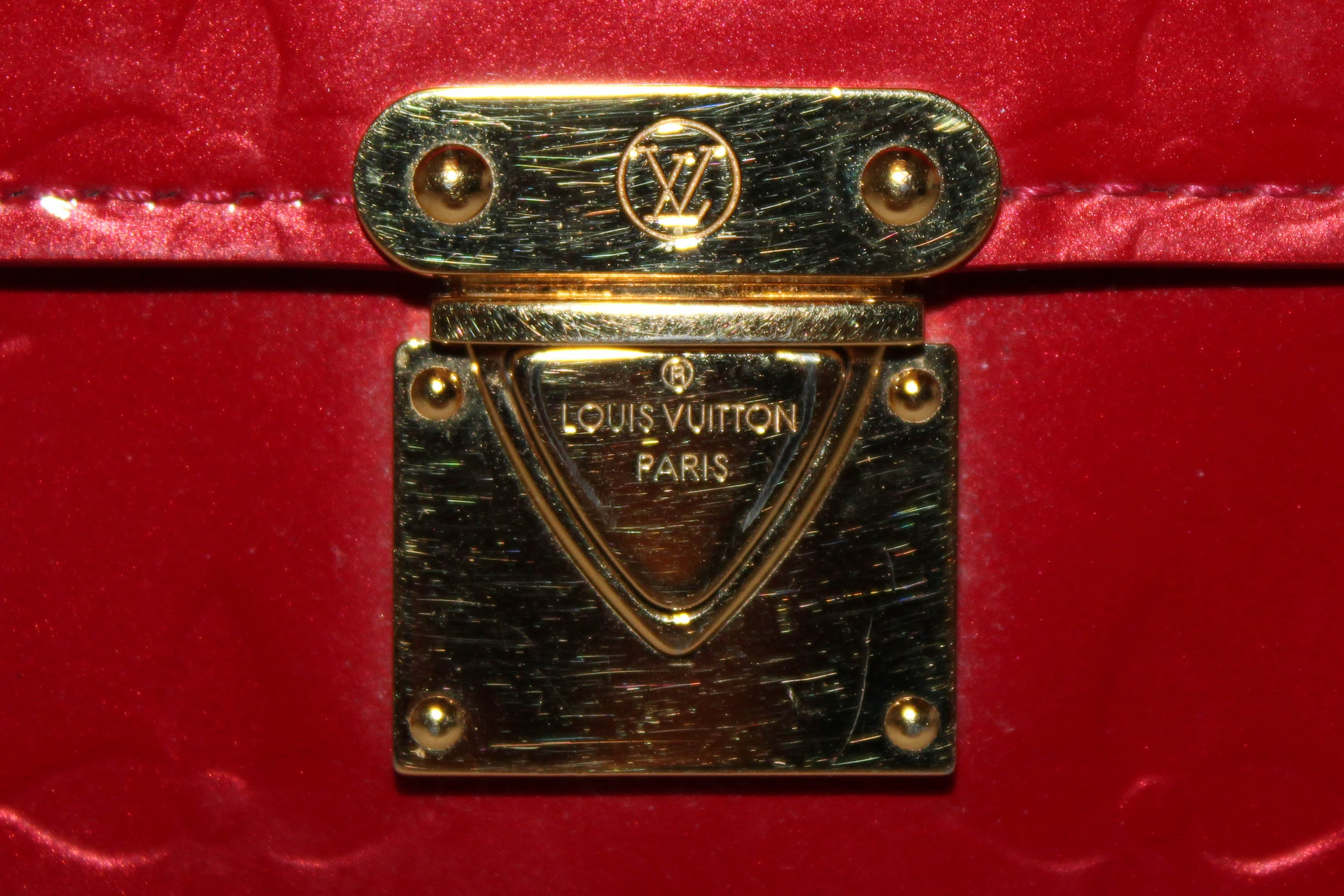 Authentic Louis Vuitton Red Monogram Vernis Leather Koala Wallet