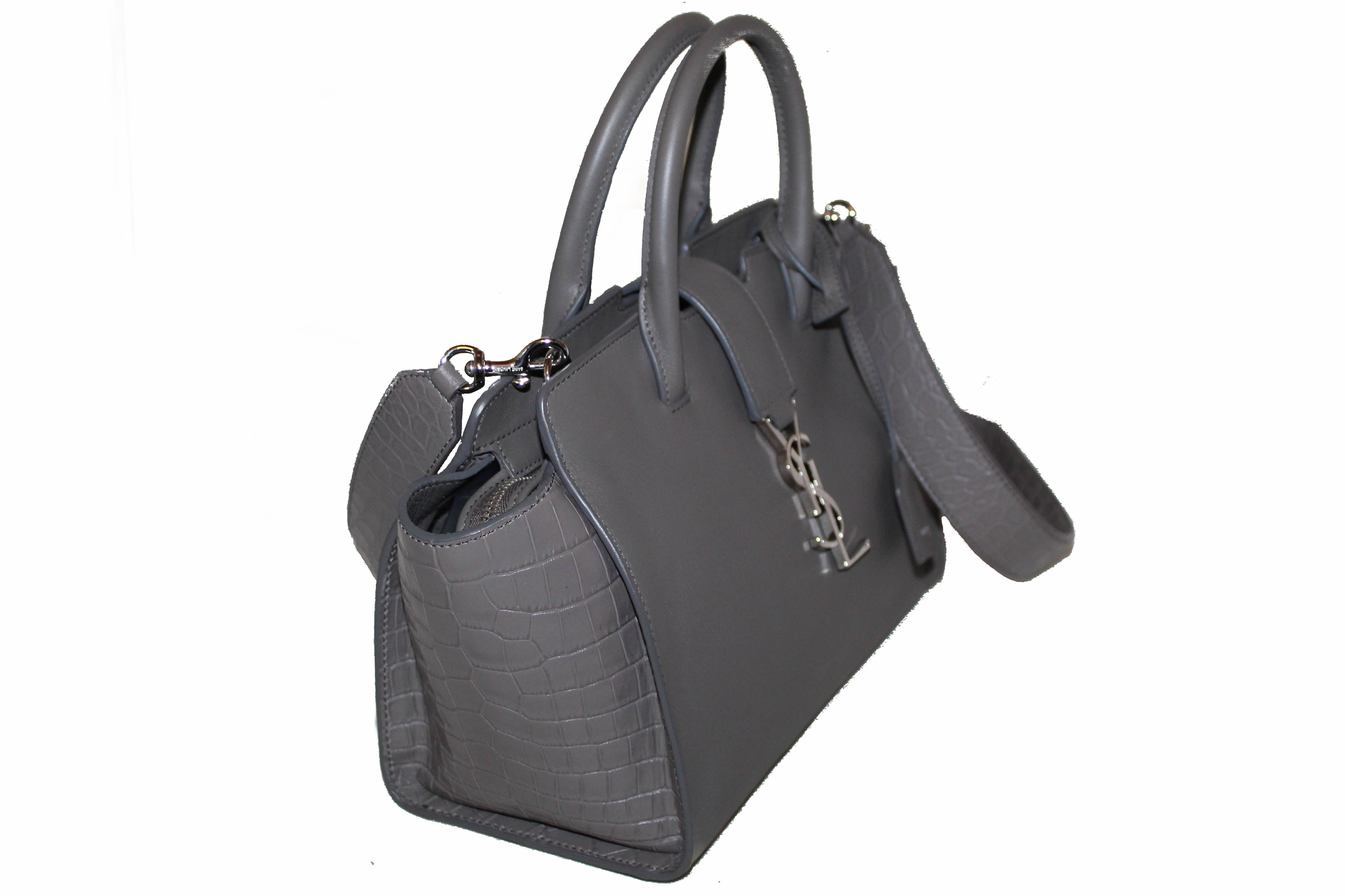Authentic Yves Saint Laurent YSL Grey Downtown Baby Cabas in Smooth and Crocodile Embossed Leather Bag