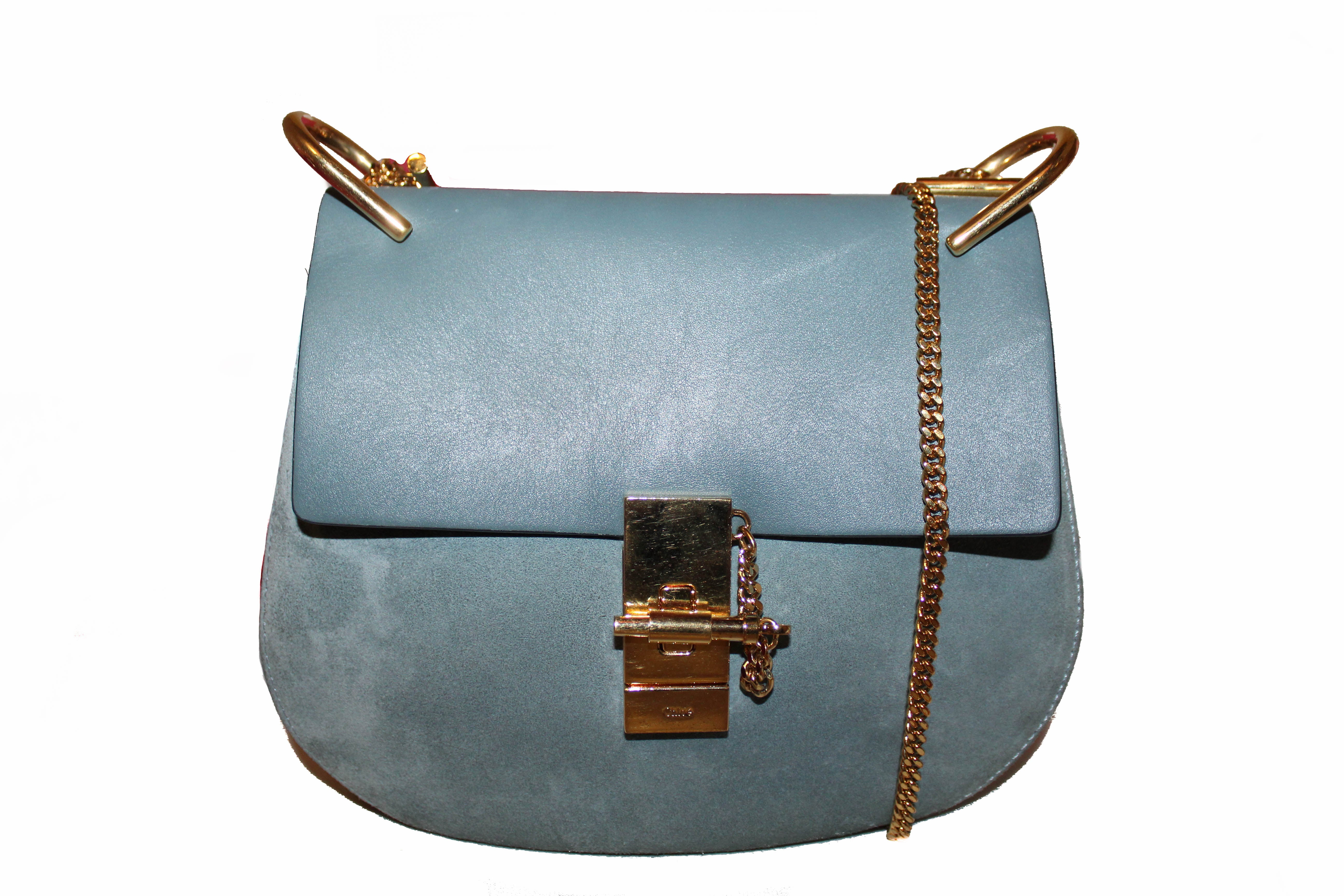 Authentic Chloe Drew Blue Smooth Calfskin & Suede Leather Crossbody Bag