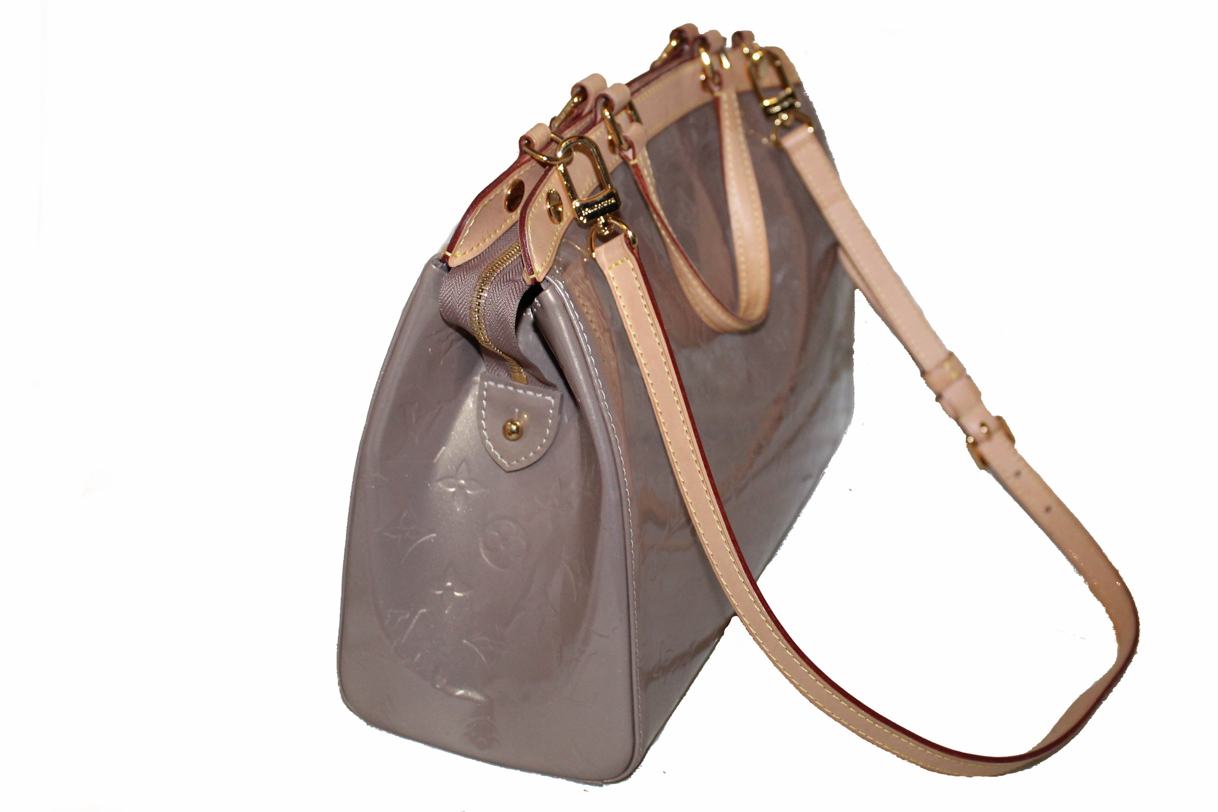 Authentic Louis Vuitton Beige Vernis Leather Brea PM Shoulder Bag