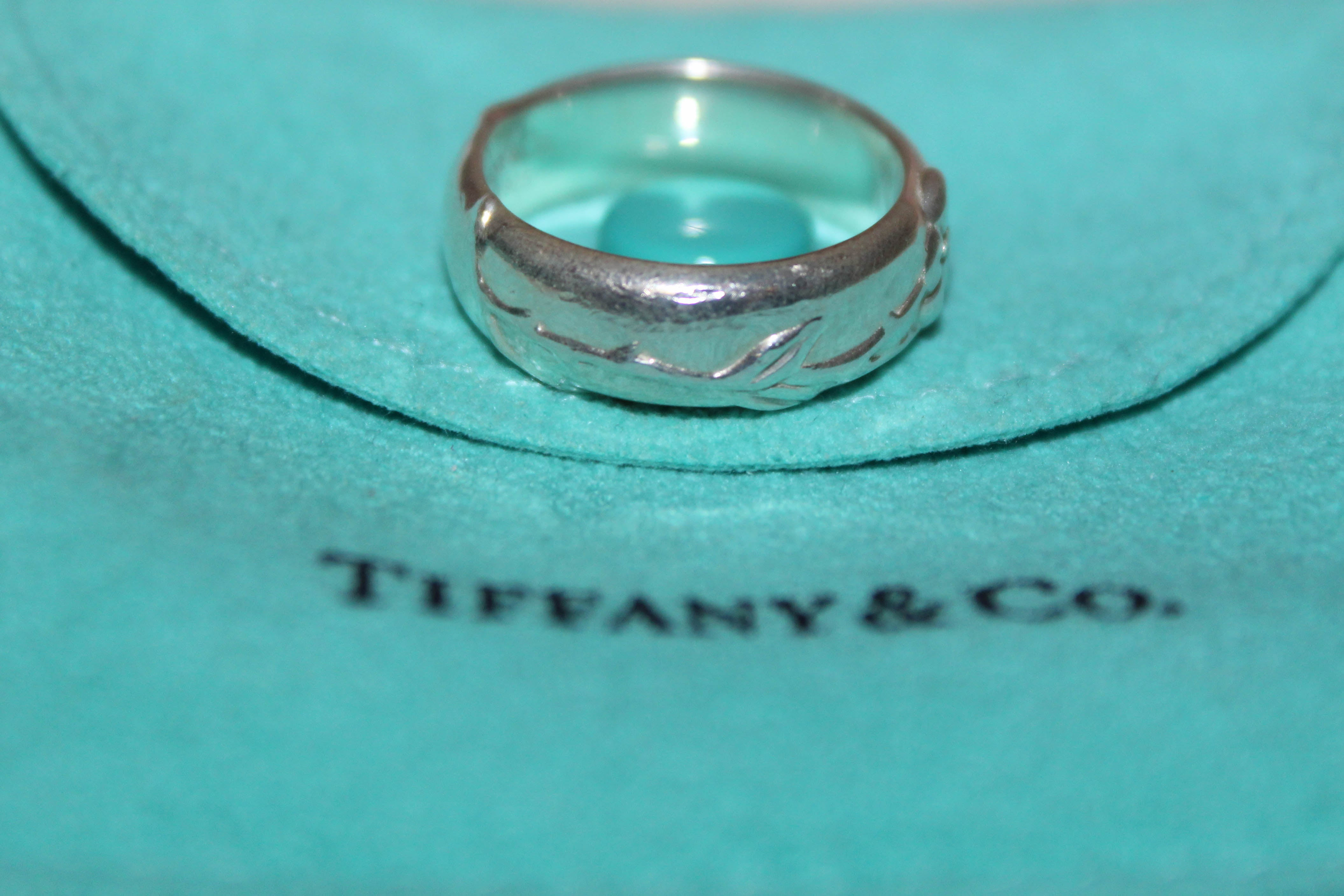 Authentic Tiffany & Co. Sterling Silver Nature Rose Ring Size 5.5