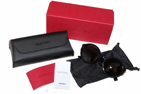 Authentic New Valentino VA4047 Black Rockstud Round Sunglasses
