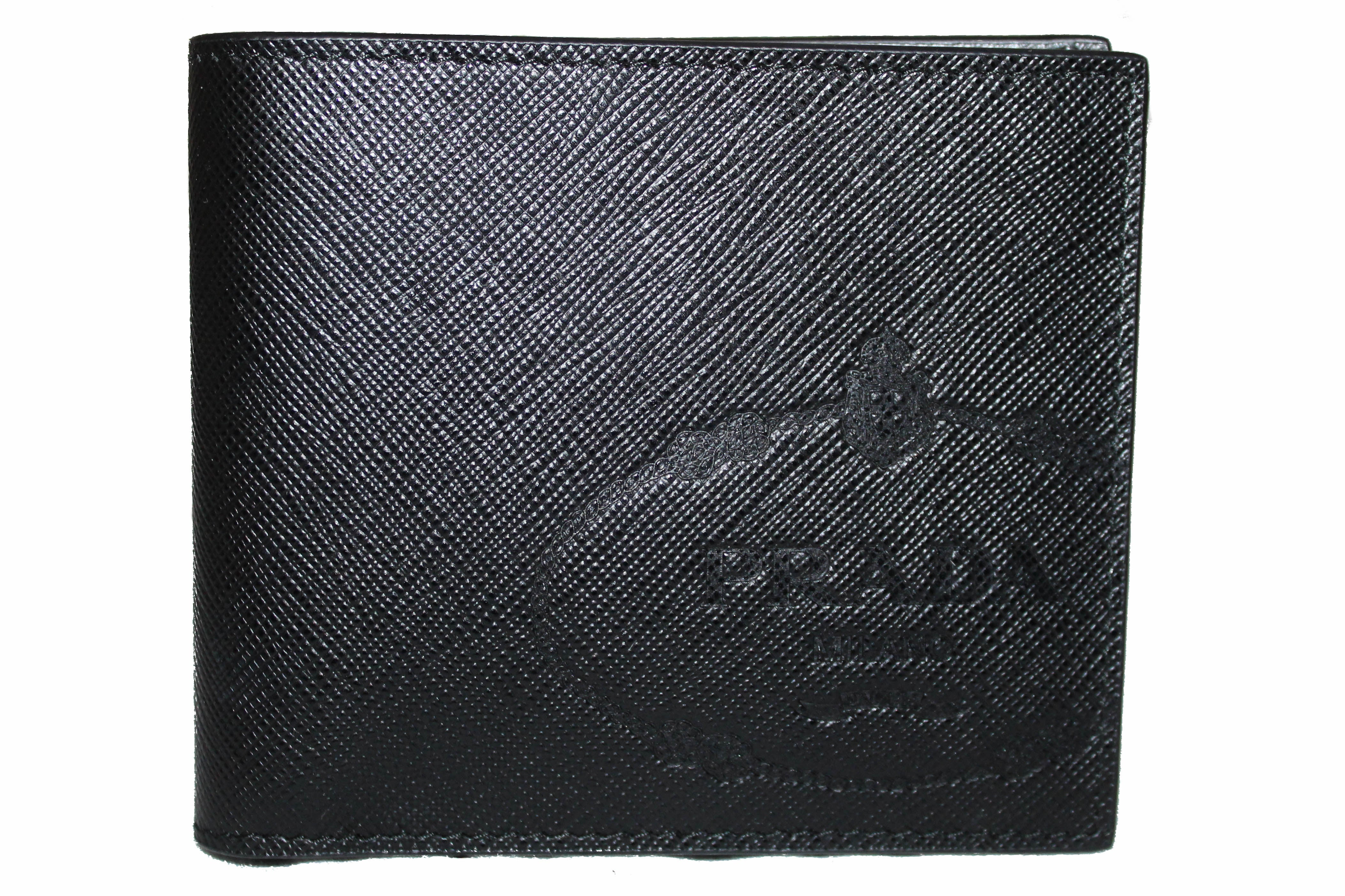 Authentic NEW Prada Black Saffiano Leather Men Wallet