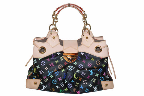 Authentic New Louis Vuitton Black Multicolore Monogram Ursula Large Shoulder Bag