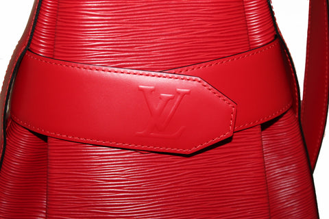 Authentic Louis Vuitton Red Epi Leather Sac D'Epaule PM Bag