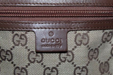 Authentic Gucci Brown Signature GG Fabric Small Messenger Bag