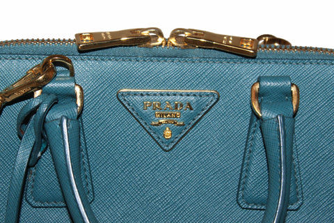 Authentic Prada Teal Blue Saffiano Leather Small Promenade Alma Bag BL0838