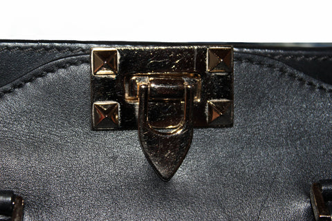 Authentic Valentino Black Leather Rockstud Micro Mini Tote Bag
