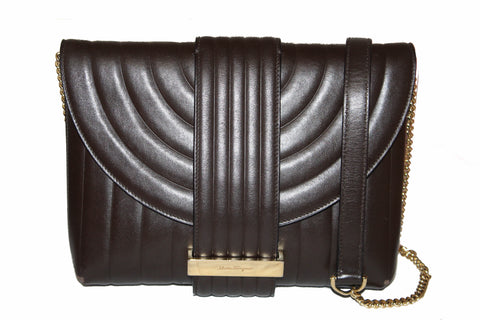 Authentic Salvatore Ferragamo Dark Brown Quilted Leather Clutch/Shoulder Bag