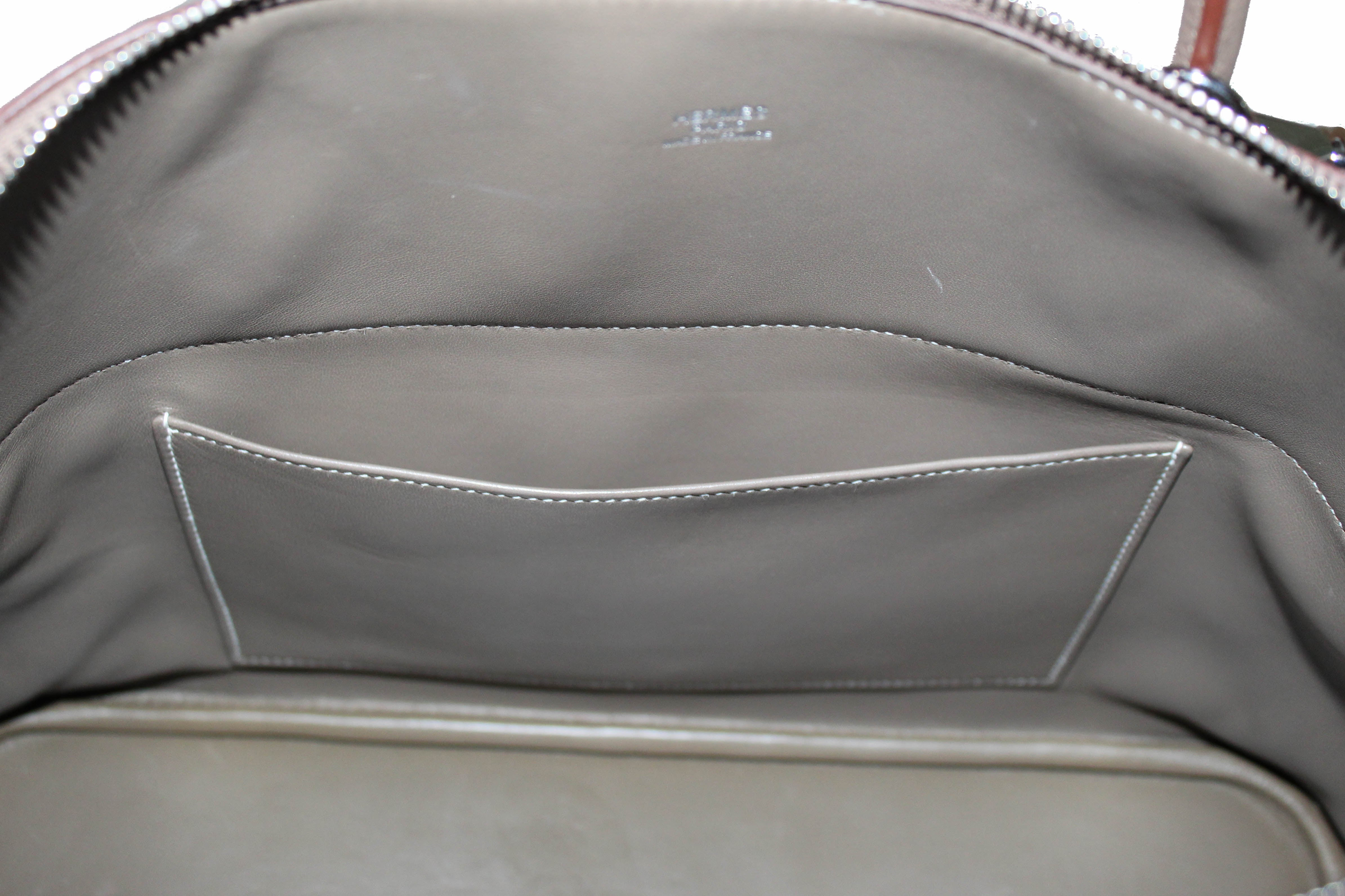 Authentic Hermes Etoupe Bolide 35 Clemence Leather Handbag/Shoulder Bag