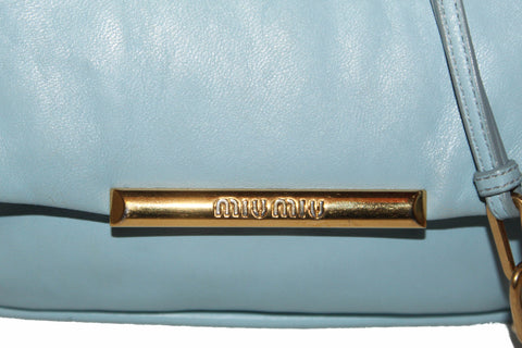 Authentic Miu Miu Blue Lambskin Leather Frame Crossbody Bag
