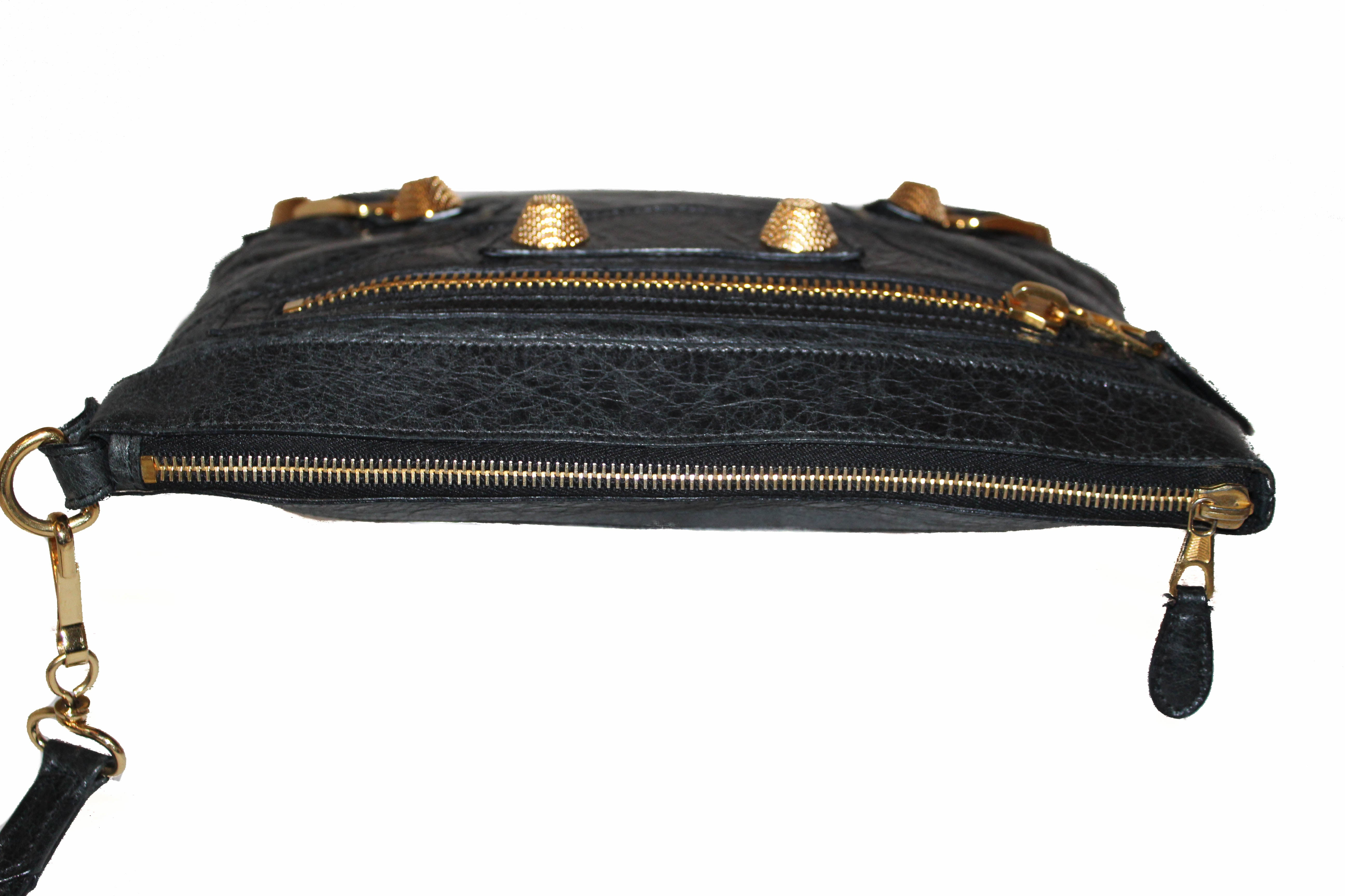 Authentic Balenciaga Black Giant 21 Gold Lambskin Leather Clutch