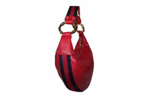Authentic Gucci Red Pebbled Leather Bamboo Ring Hobo Bag