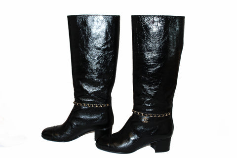 Authentic Chanel Black Patent Leather CC Logo Chain High Boots Size 36C