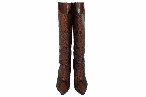Authentic Jimmy Choo Brelan Snake-Print Knee Boots Size 35.5