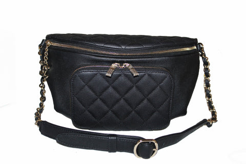 Authentic Chanel Black Small Quilted Caviar Leather Business Affinity Waistbag