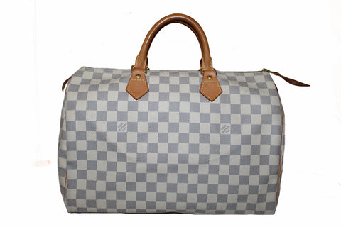 Authentic Louis Vuitton Damier Azur Speedy 35 Handbag