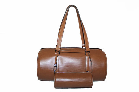 Authentic Louis Vuitton Brown Epi Leather Soufflot Handbag with Mini Bag