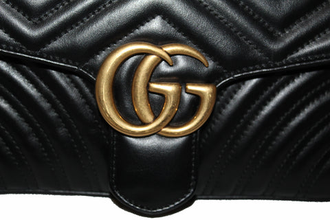 Authentic Gucci Black Marmont Matelasse Shoulder Bag
