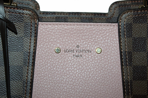 Authentic Louis Vuitton Damier Ebene Pink Jersey Tote Shoulder Bag
