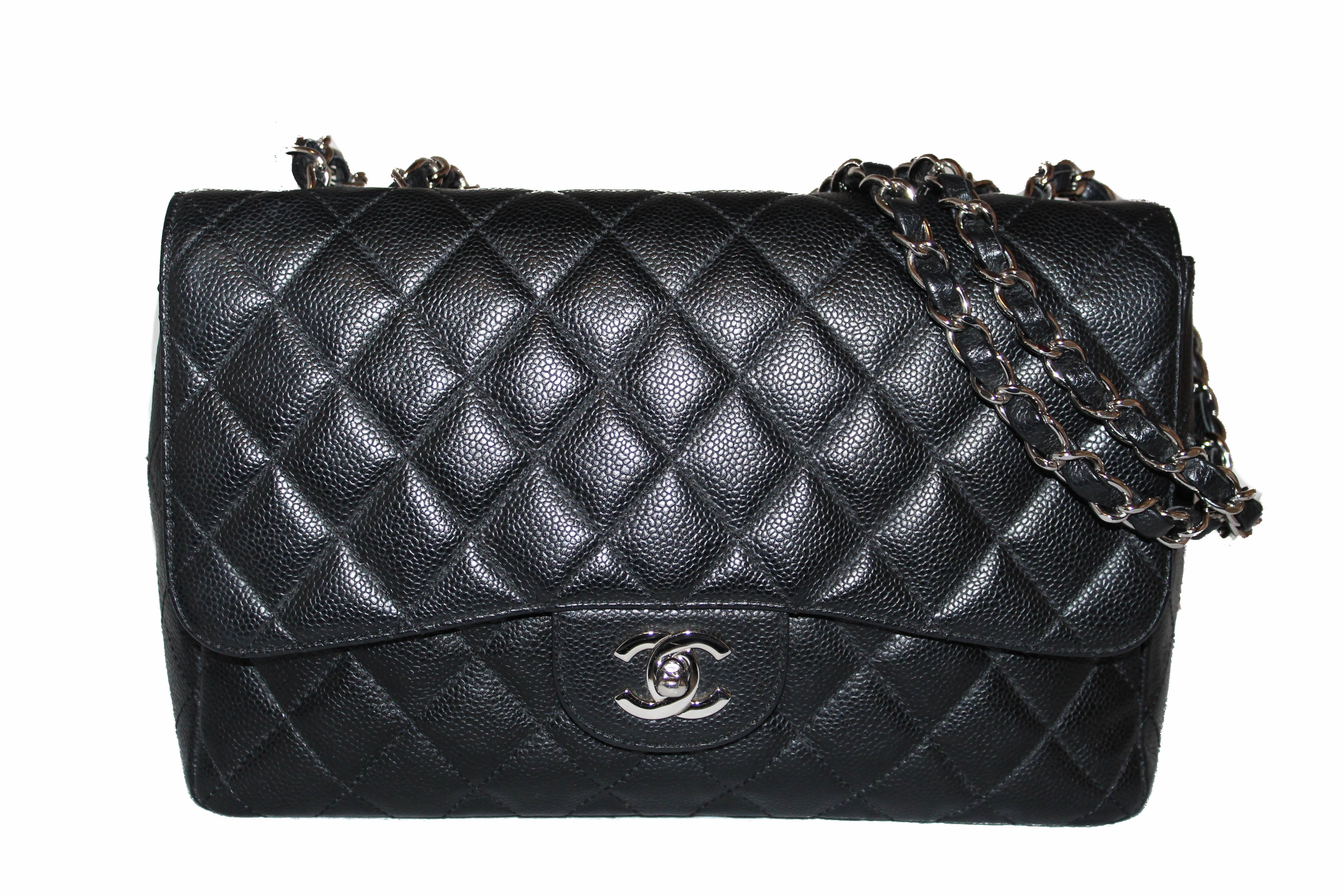 Authentic Chanel Black Quilted Caviar Leather Jumbo Single Flap Bag