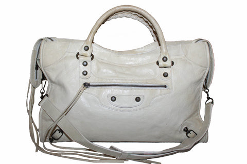 Authentic Balenciaga Ivory Classic City Lambskin Leather Shoulder Bag