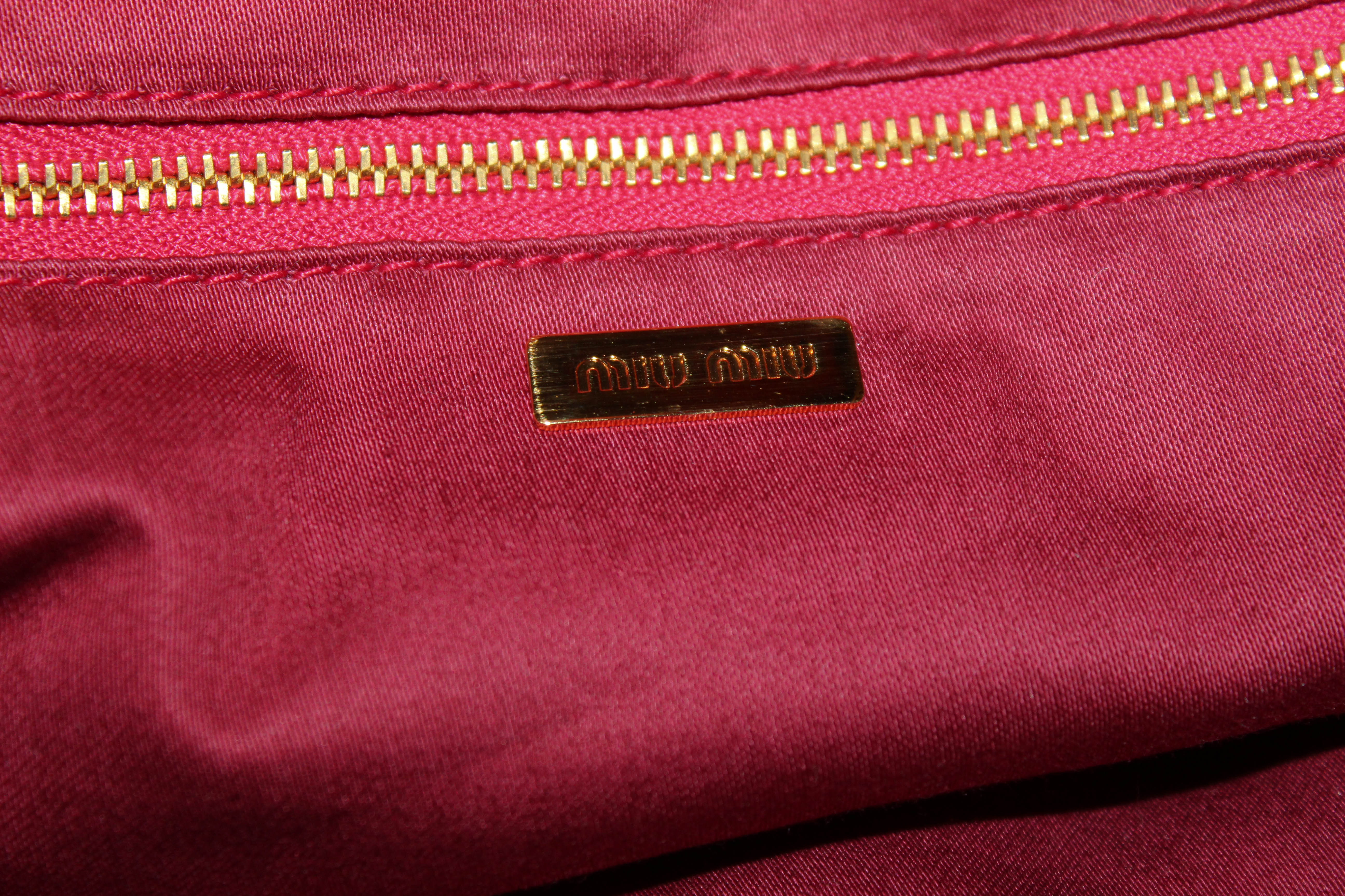 Authentic Miu Miu Peony Pink Lambskin Leather Frame Top Evening Bag