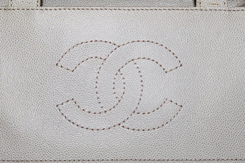 Authentic Chanel Vintage Ivory Caviar Leather Small Tote Shoulder Bag