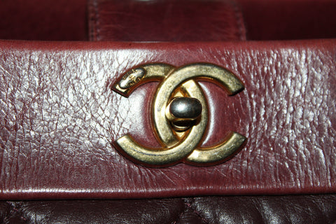 Authentic Chanel 31 Rue Cambon Paris Burgundy Distressed Leather Tote Bag