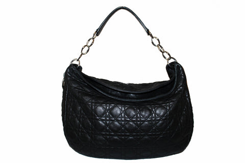 Authentic Christian Dior Black Lady Dior Cannage Quilted Lambskin Hobo Bag