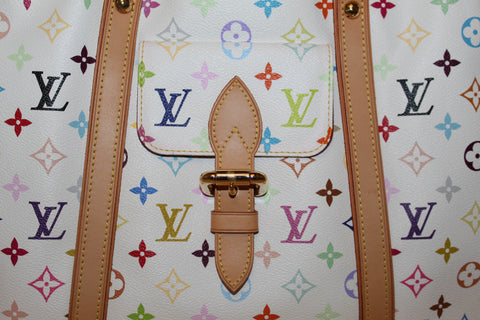 Authentic Louis Vuitton White Multicolore Monogram Aurelia GM Tote Bag