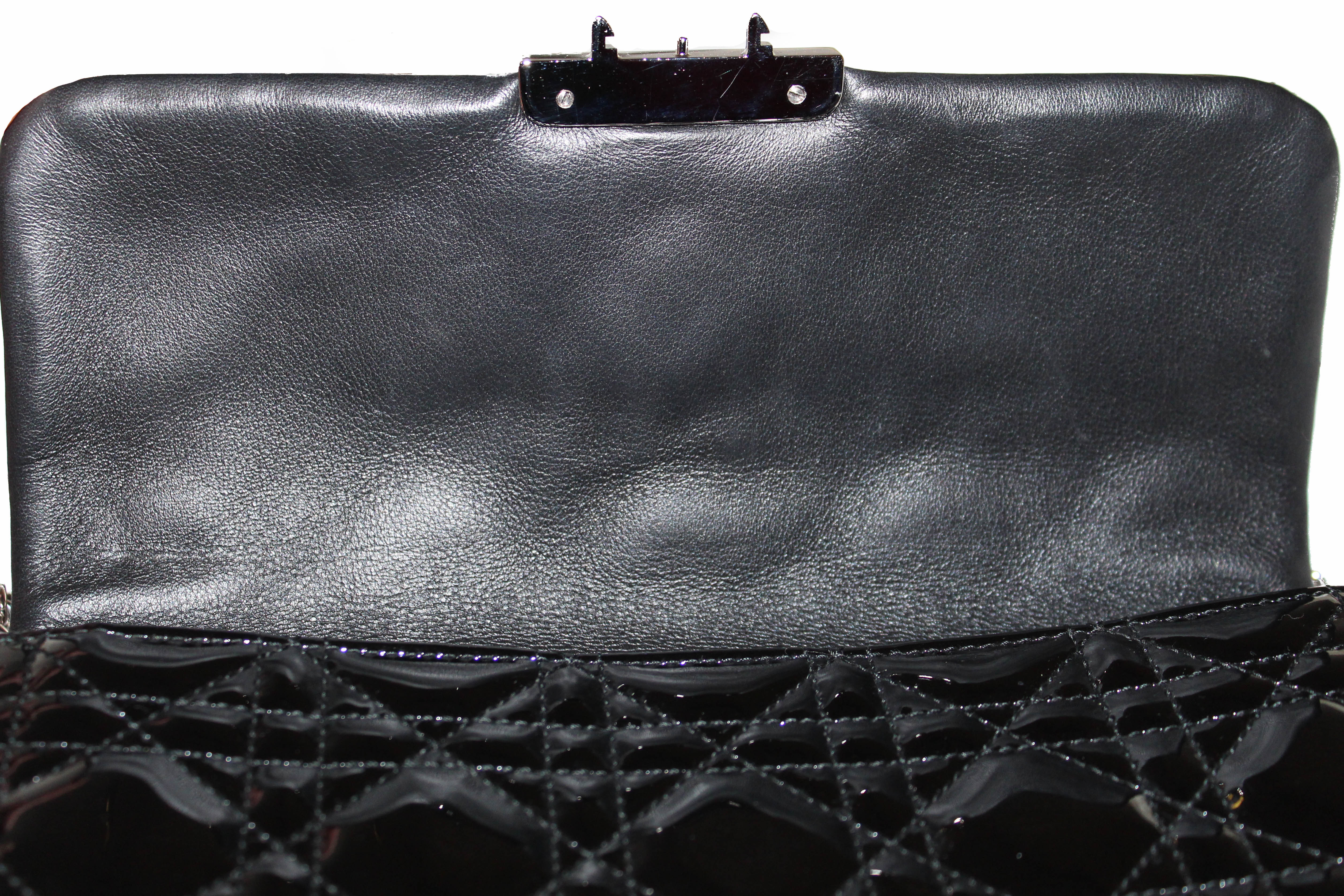 Authentic Christian Dior Black Cannage Patent Leather Miss Dior Promenade Pouch/Wallet On Chain