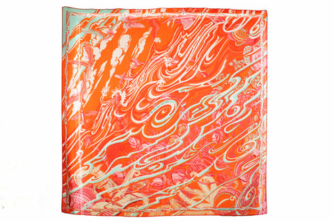 Authentic Hermes Cashmere Silk De La Mer Au Ciel Shawl 140 Orange Vert Corail