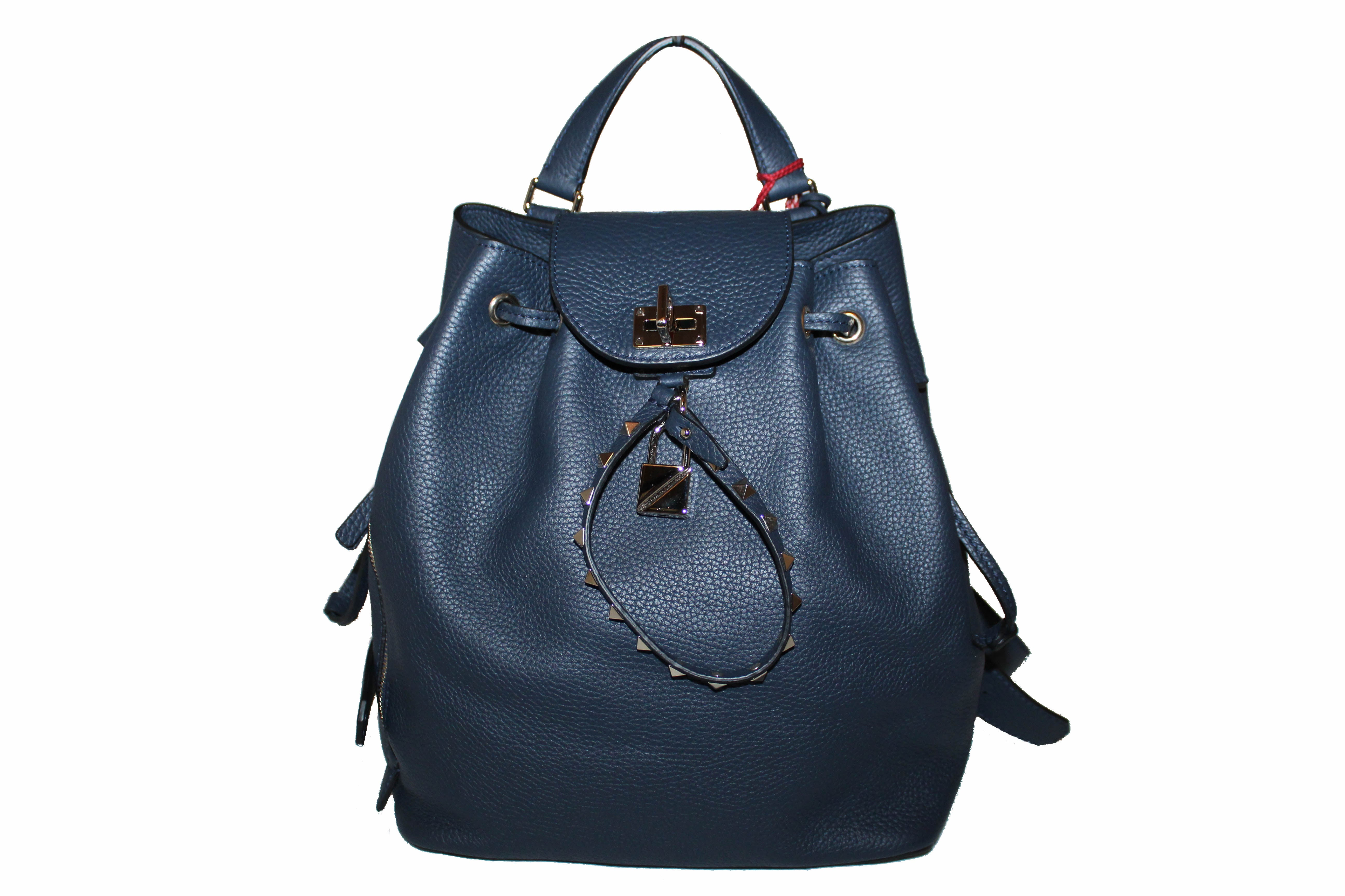 Authentic New Valentino Garavani Navy Blue Twiny Backpack